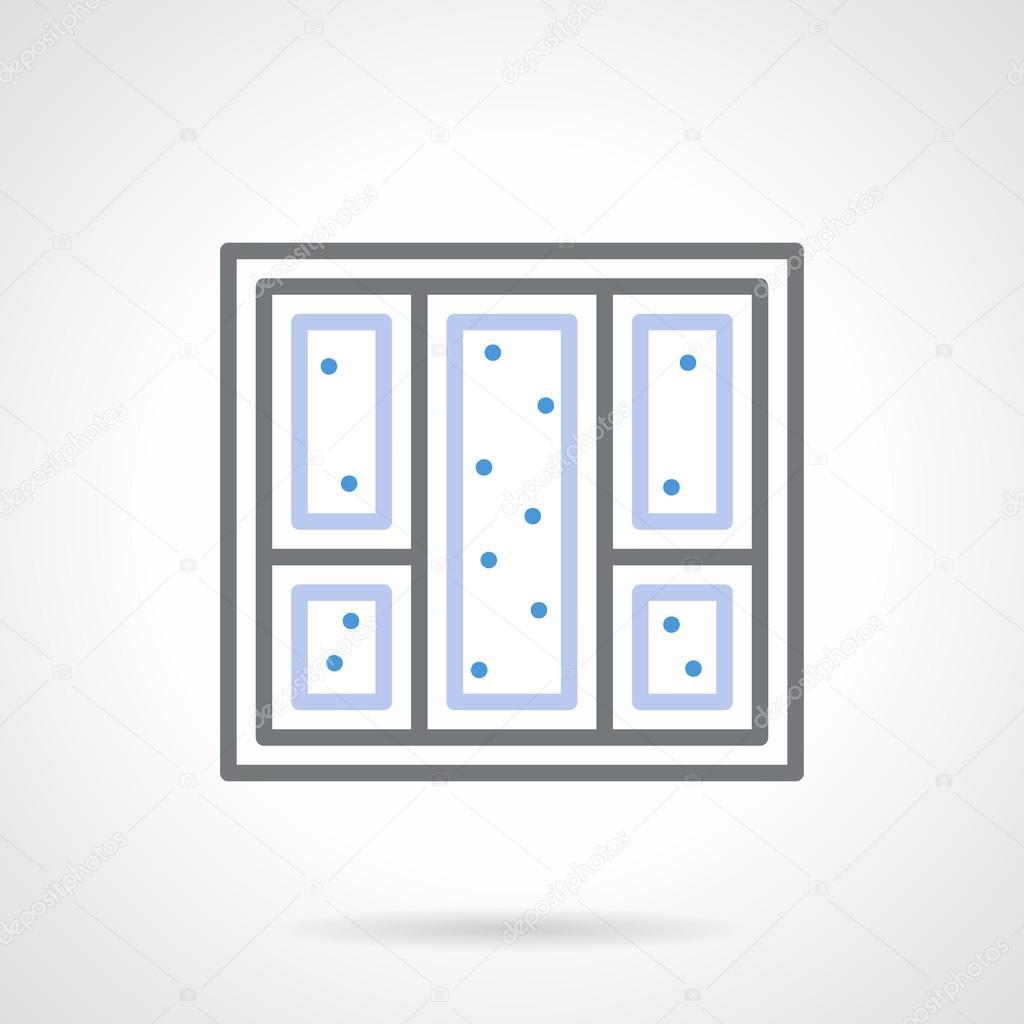 Snowy window simple line vector icon