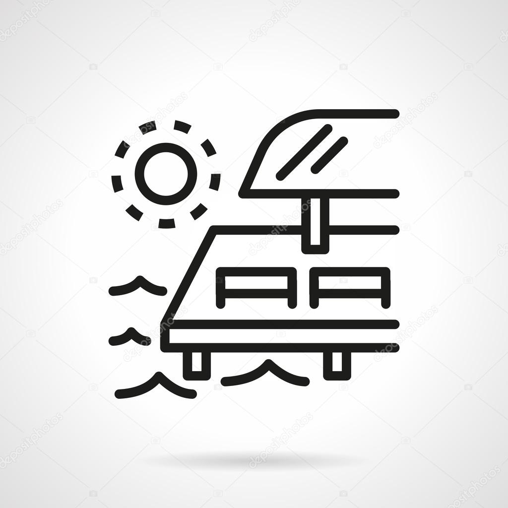 Chaise-lounges on pier black line vector icon