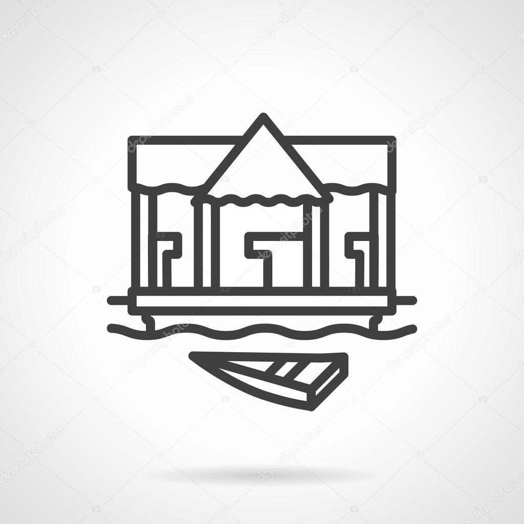 Village jetty black simple line vector icon