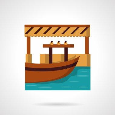 River dock flat color vector icon