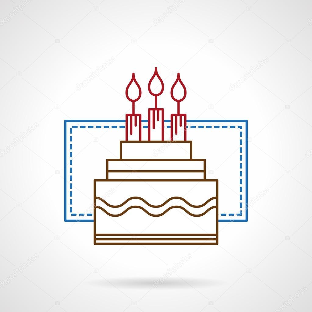Flat color line birthday cake vector icon Stock Vector