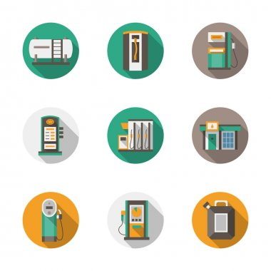 Round flat style gas station vector icons