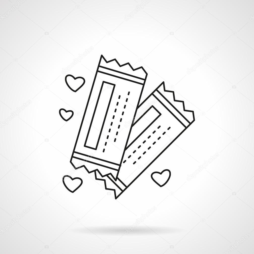 Romantic tickets flat line vector icon vetores de stock invitation for wedding party romance event flat thin line style vector icon single design element for web business mobile app stopboris Images