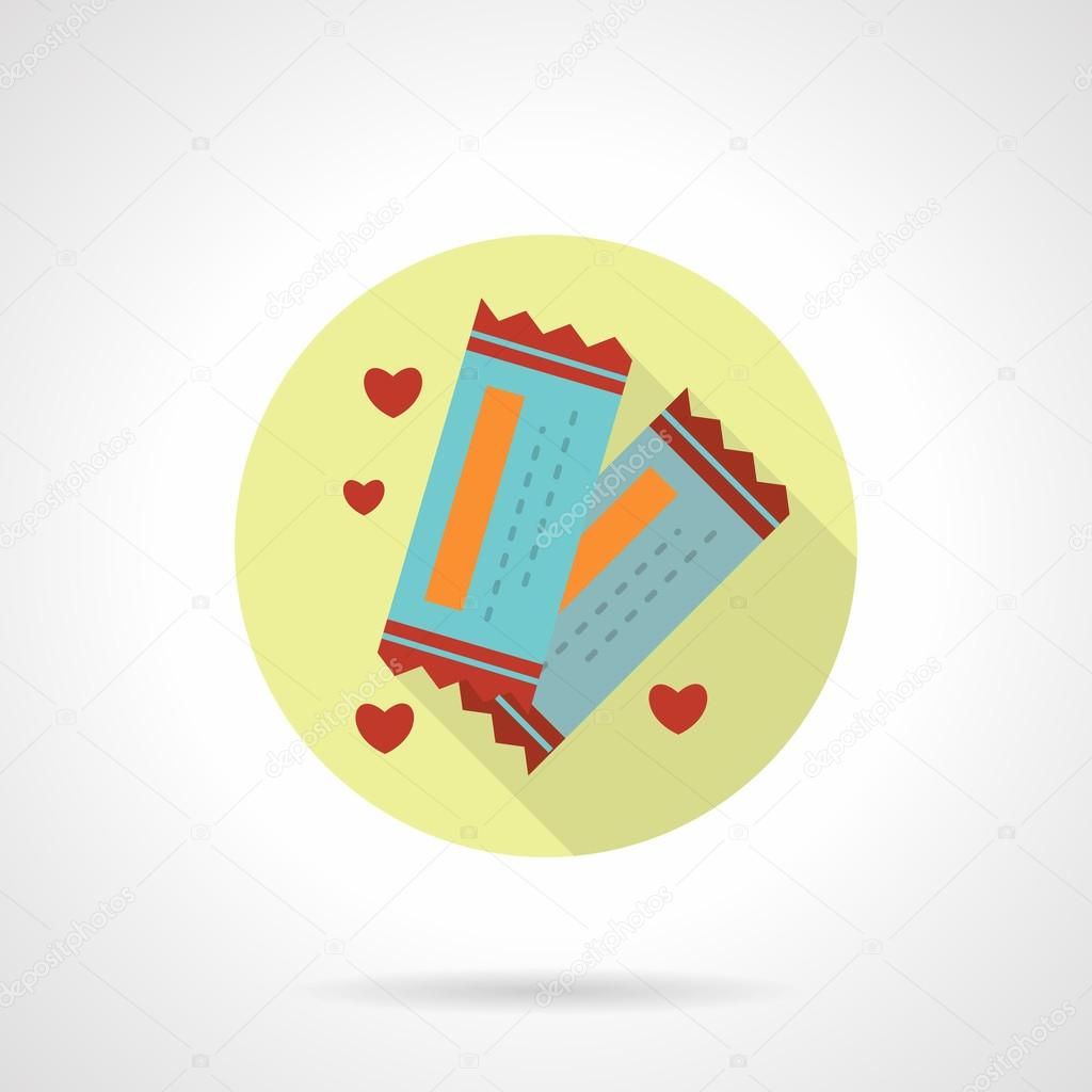Round flat vector icon for lovers tickets vetores de stock two blue tickets for romantic meeting invitation to cinema valentines day time yellow round flat vector icon with long shadow element for web design stopboris Image collections