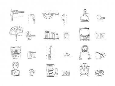 Hand drawn sketch vector icons for metrology and engeneering equipment. Tools for measuring various quantities. Calipers, electric tester, measuring mass, time and others. Doodle design elements. clip art vector