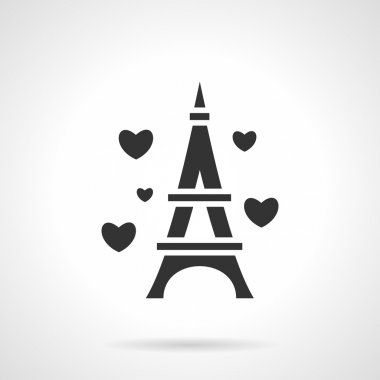 Black Eiffel Tower romance vector icon