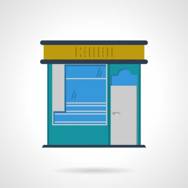 Storefronts flat color vector icon. News stall