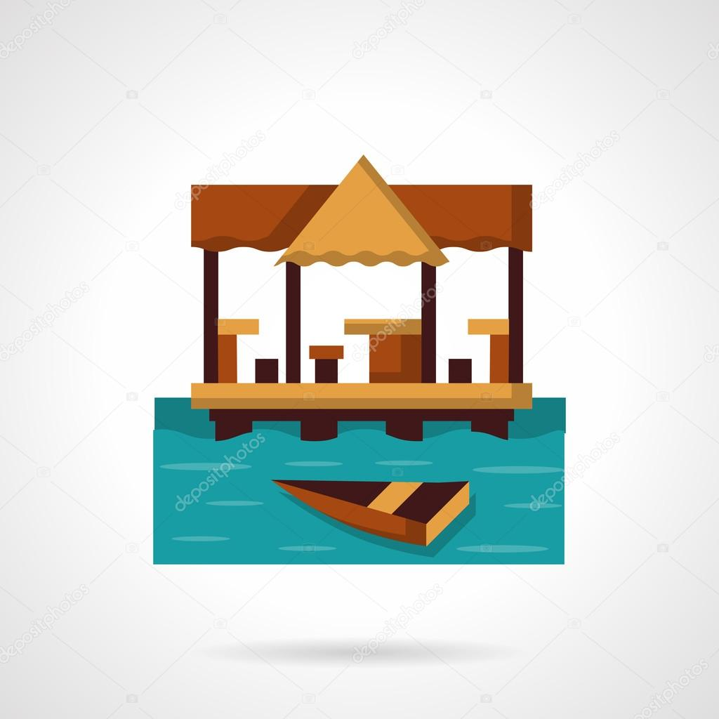 Seaside coast cafe-bar flat color vector icon