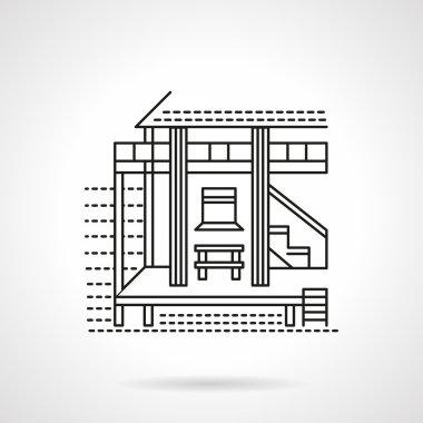 Beach bungalow flat line vector icon
