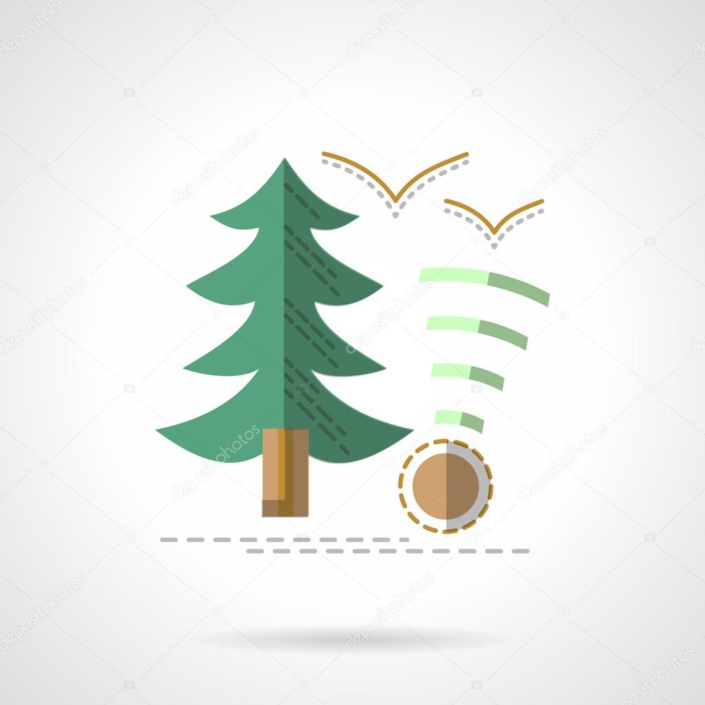 Green fir. Outdoor rest flat vector icon