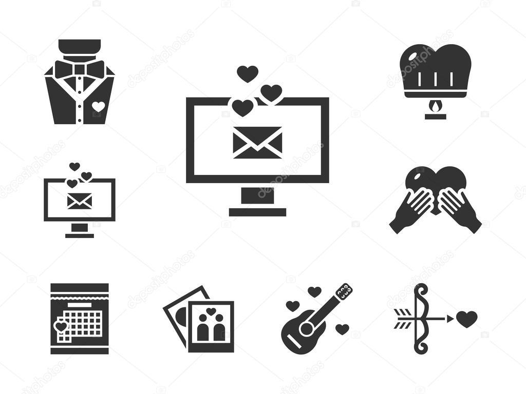 Romance Dating Black Vector Icons Set Stock Vector