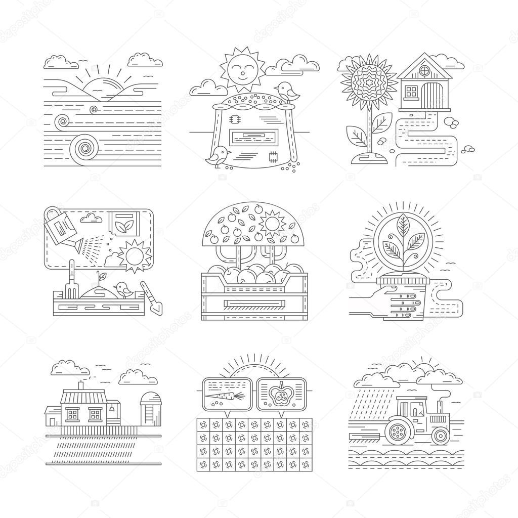 Agricultural farm vector icons set flat line style