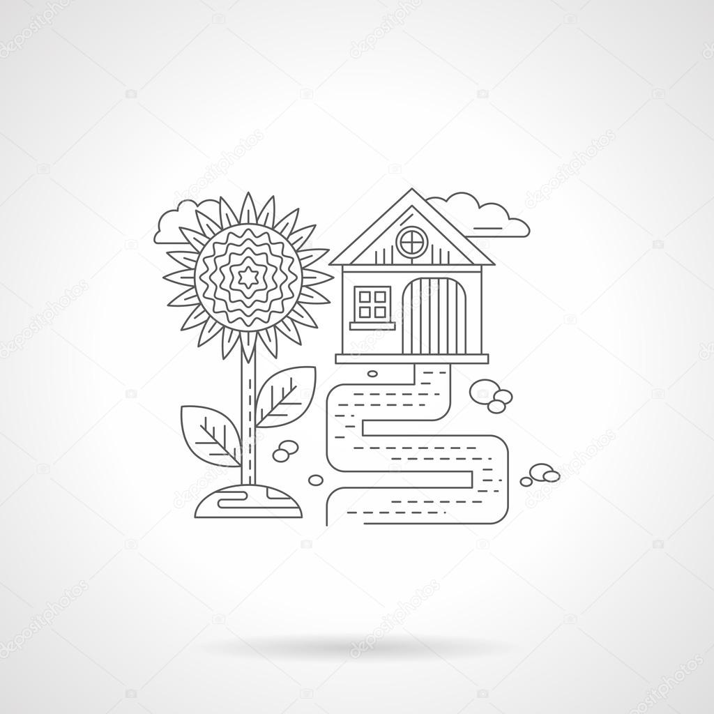Sunflower detail line vector icon
