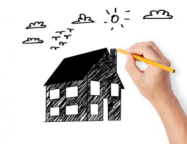 Hand drawing a house model stock vector