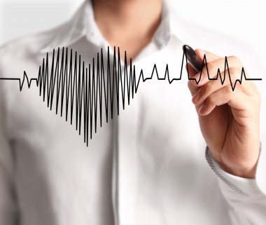 High resolution man drawing heartbeat stock vector