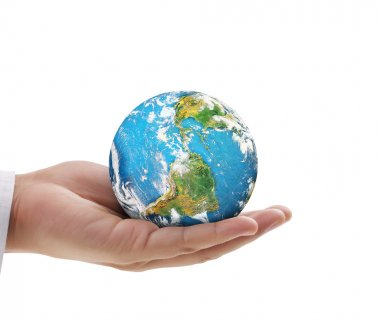 Human hand holding  globe  Elements of  image furnished by NASA