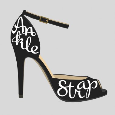 Shoe typography, ankle strap typography