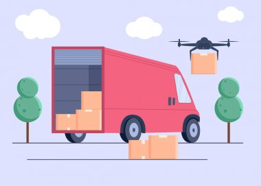 Drone delivers boxes . Non-contact delivery concept.Contactless express delivery service. Self-isolation lifestyle. Contactless delivery during quarantine. icon