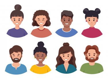 Male and female faces avatars. flat style vector icons set happy people. icon