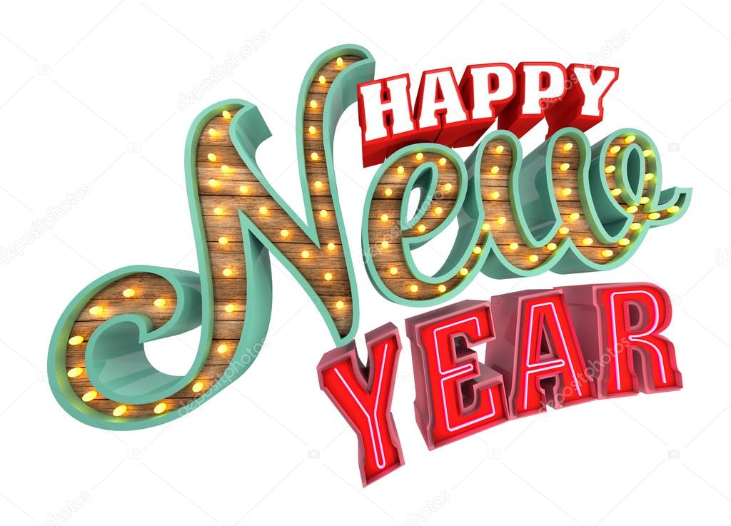 happy new year 3d rendering isolated on white background stock photo