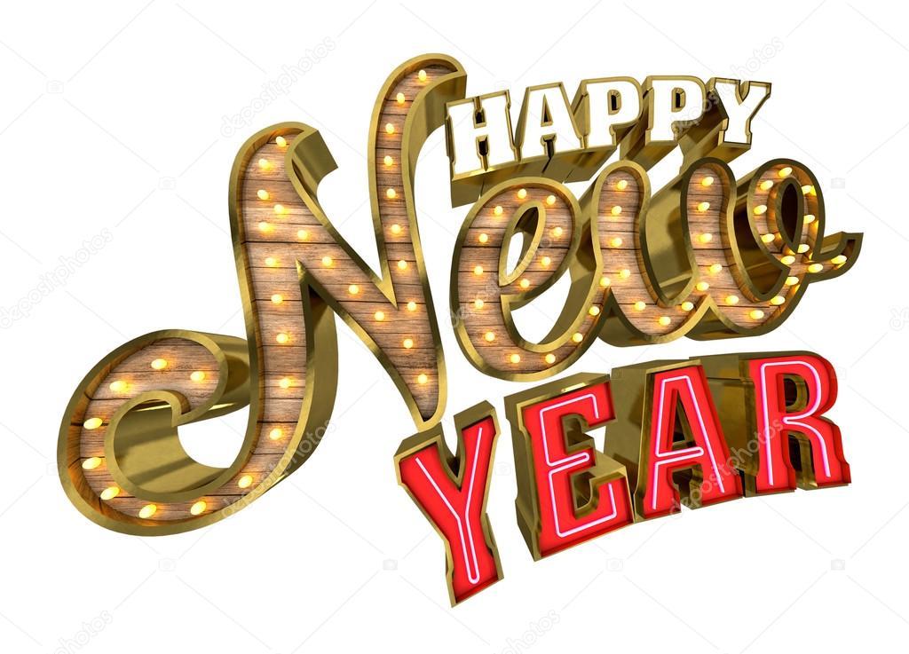 Happy New Year, 3D-Rendering isoliert auf weißem Hintergrund ...