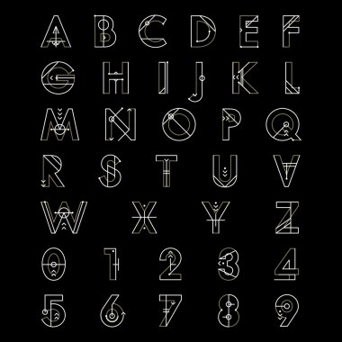 Alphabet font and number