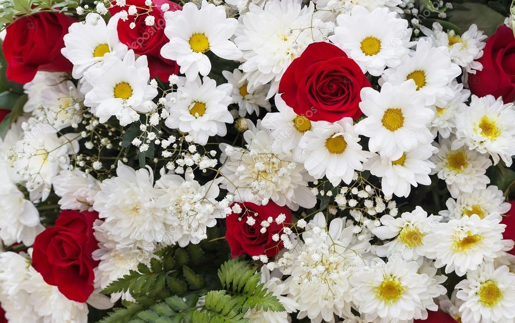 Ramo De Flores Rojas Y Blancas Foto De Stock C Chanterelle 82499102