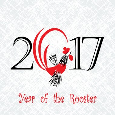 Rooster bird concept of Chinese New Year of the Rooster. Grunge vector file organized in layers for easy editing.