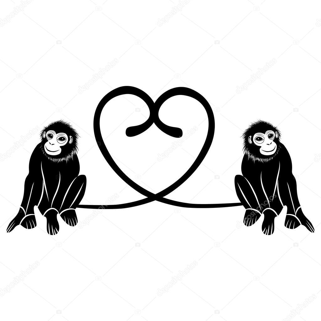 動物愛。かわいい猿尾、バレンタインの日イラストのハート型のカップル