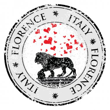 Love heart travel destination grunge rubber stamp with symbol of Florence,statue of a lion,  Italy, vector illustration