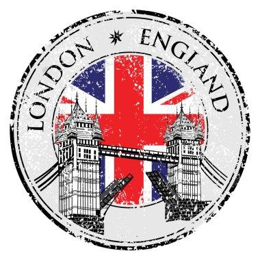 Tower Bridge grunge stamp with flag, vector illustration , London vector hand drawn illustration