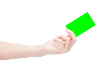 Hands holding blank business card in green chroma key,easy for dicut