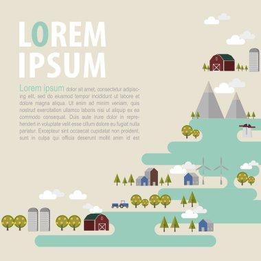 Flat design urban landscape illustration background,farm