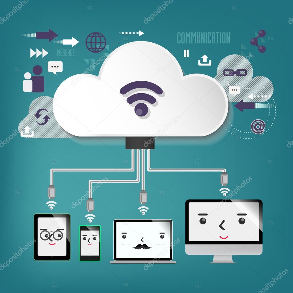 cloud computing - illustration, connection