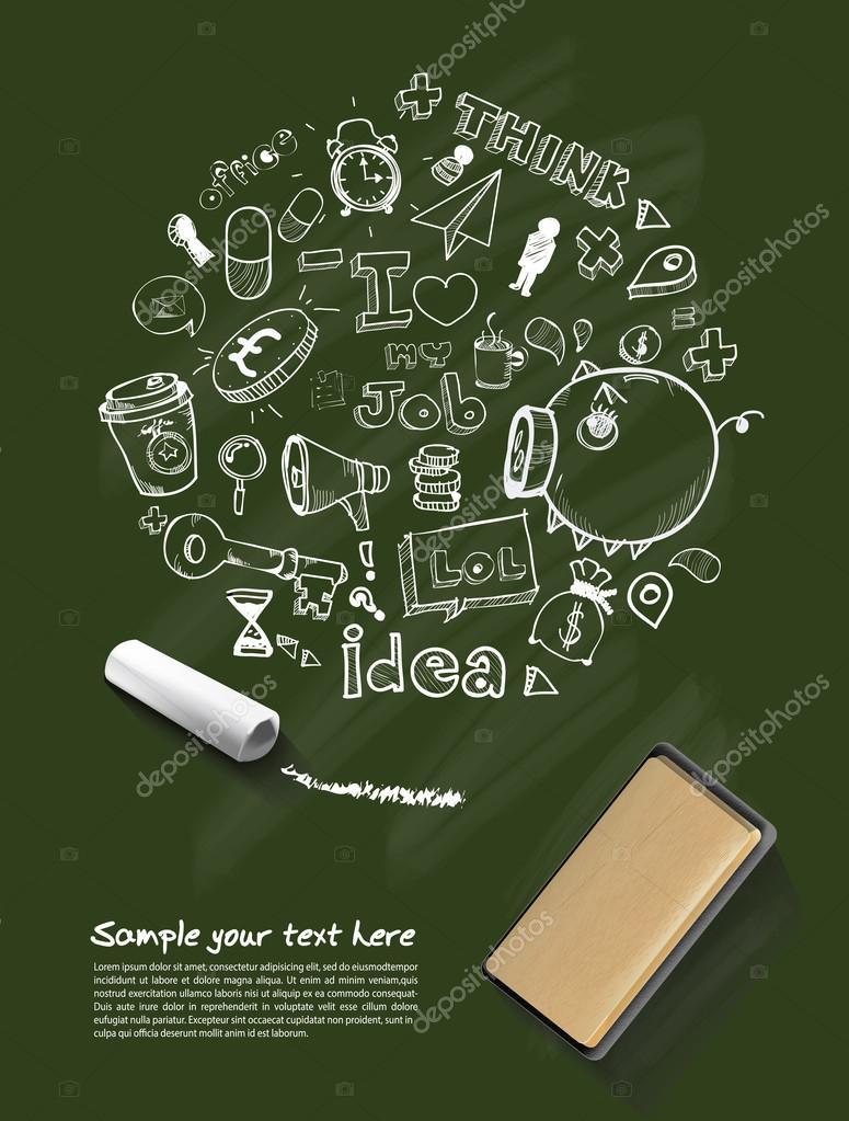 Business doodles, chalk on blackboard. Vector eps10 illustration