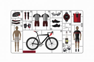 Bicycle and accessories , vector set