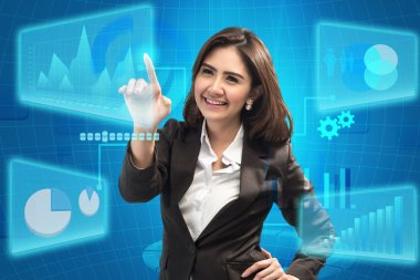 picture of attractive businesswoman touching virtual screen - business concept