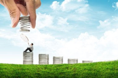 Concept of business and money growth ,businessman sitting