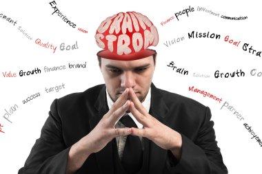 Conceptual image of a open minded Businessman,Businessman