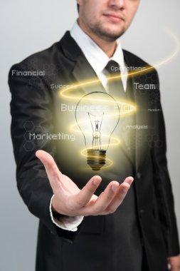 Businessman with idea light bulb