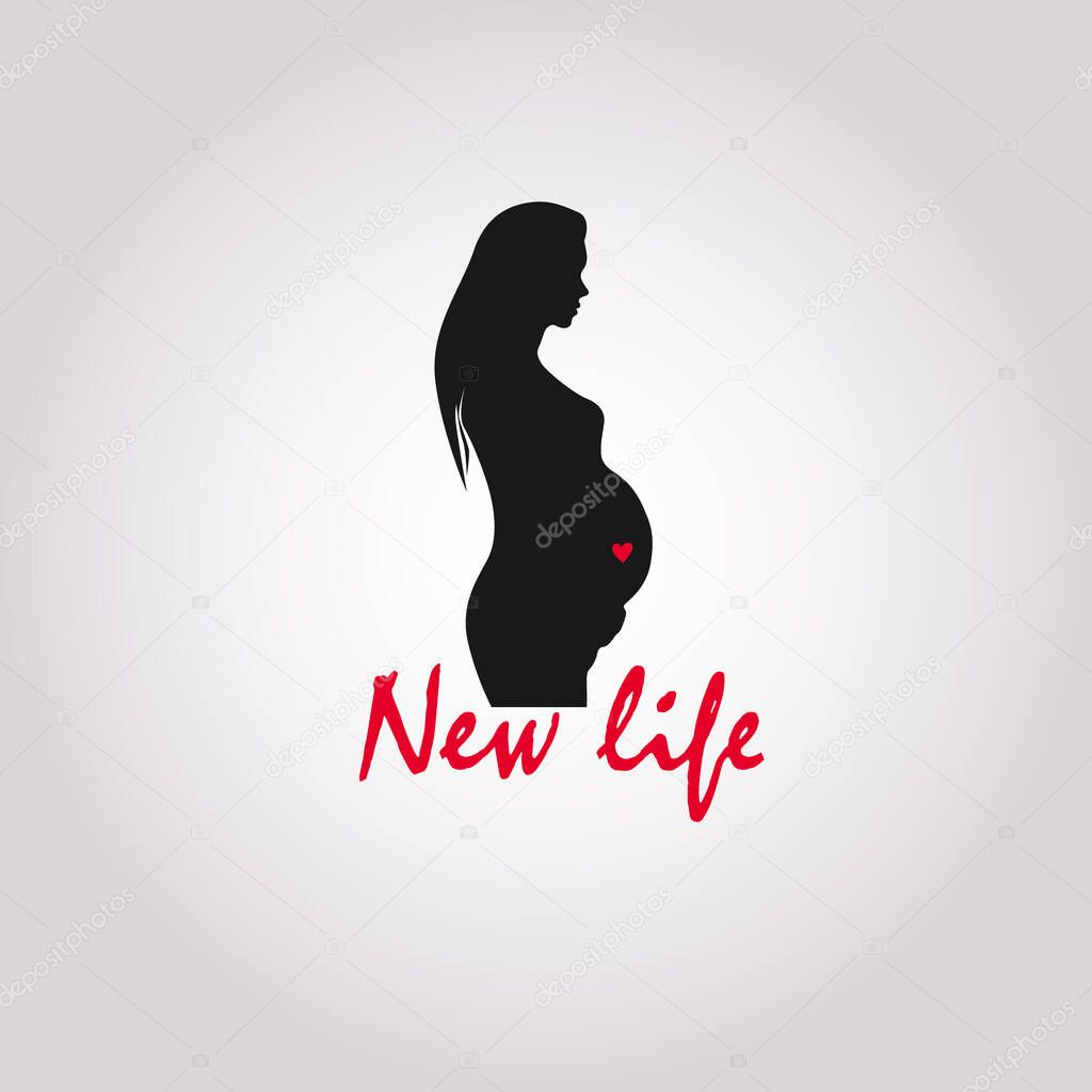 Vector flat line icon on pregnancy. Beautiful abstract prenatal pregnant woman linear symbol. EPS 10 icon