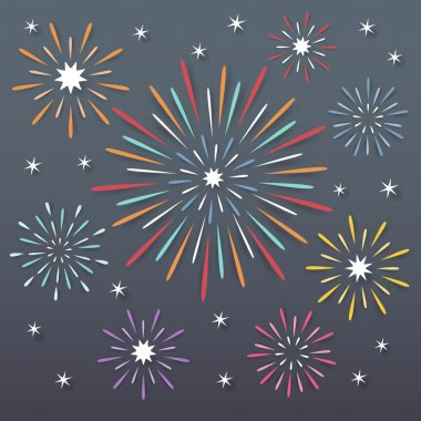 Colorful paper exploding fireworks on dark night background. stock vector