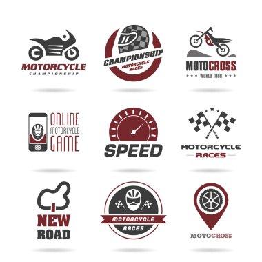 Motorcycle racing icon set -2