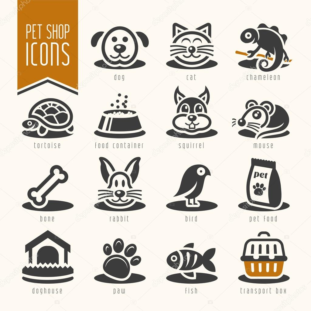 Pet, vet, pet shop icon set