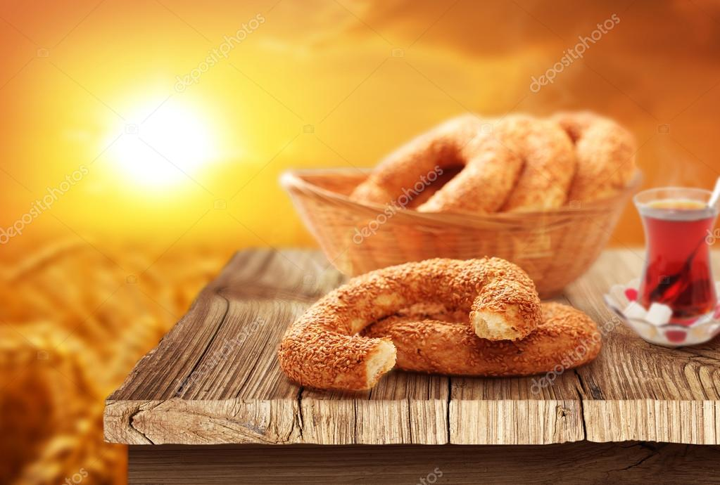 White bagel, turkish tea with natural background
