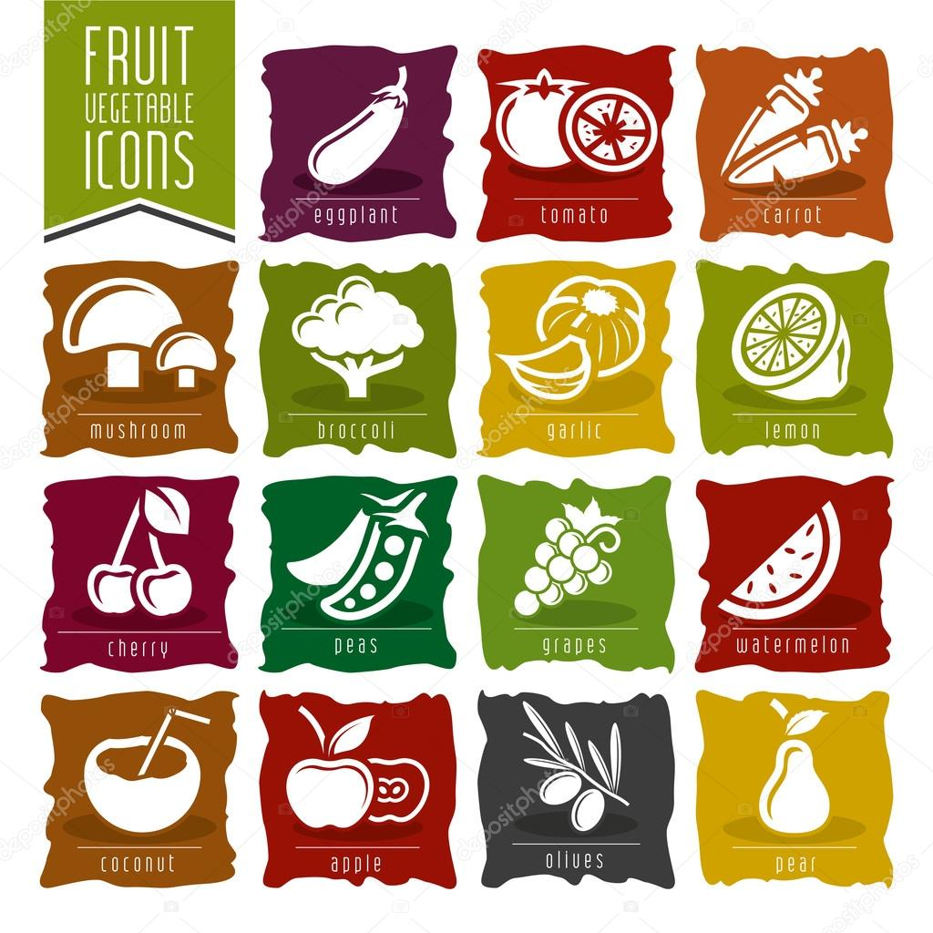 Fruit and Vegetable Icon Set - 2