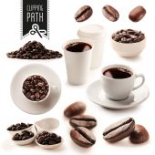 Coffee set with clipping path