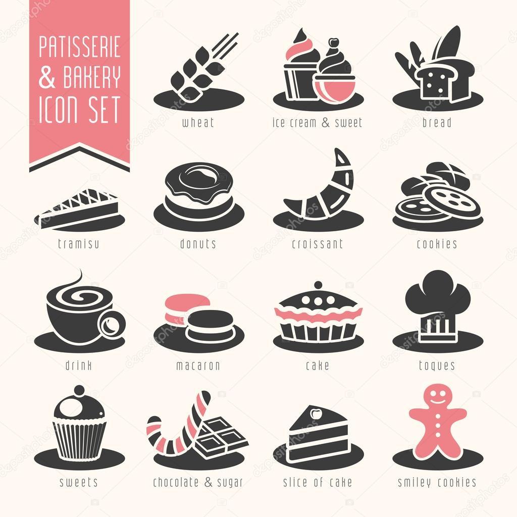 Bakery, patisserie icon set