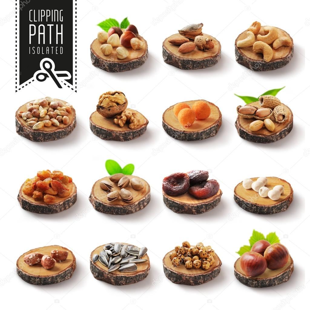 Isolated nuts set with clipping path.
