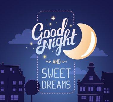 """Картина, постер, плакат, фотообои """"Иллюстрация пожелание спокойной ночи и сладких снов"""", артикул 103263244"""